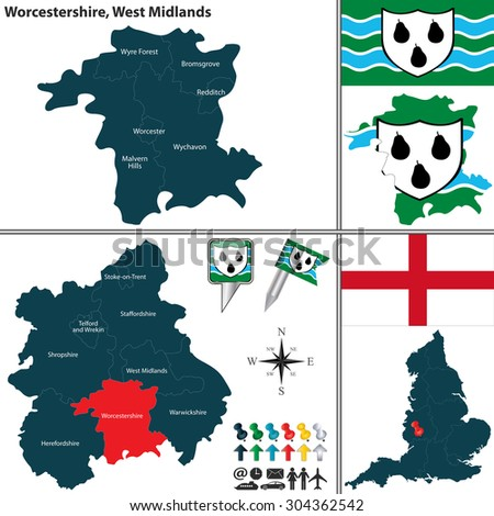 Vector map of Worcestershire in West Midlands, United Kingdom with regions and flags
