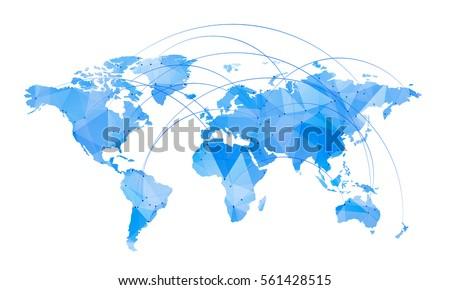 Vector Map World Trendy Triangles Design Stock Vector 561428515