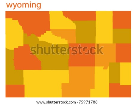 vector map of wyoming state, usa - stock vector