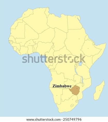 Vector map of Zimbabwe in Africa  - stock vector