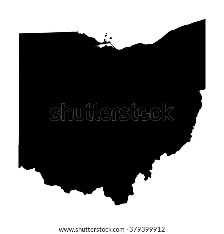 Vector map Ohio. Isolated vector Illustration. Black on White background. EPS Illustration. - stock vector