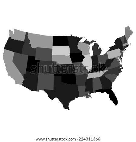 Vector map over USA with all the states in different colors and layers - stock vector