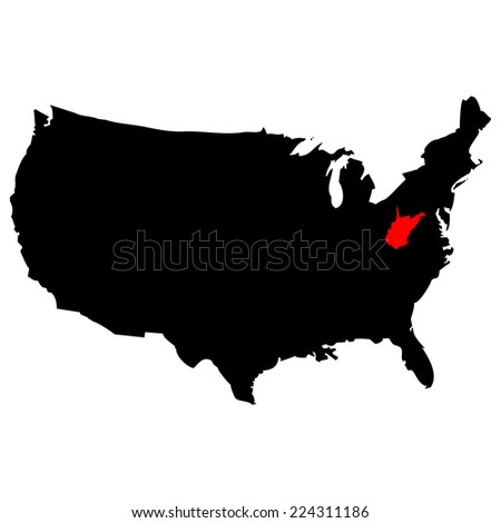 Vector map over USA with West Virginia - stock vector