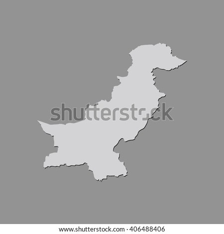 Vector map Pakistan. Gray Isolated vector Illustration. On Grey background. With shadow. EPS 10 Illustration. - stock vector