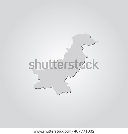 Vector map Pakistan. Isolated vector Illustration. Gray on Gradient background. With shadow. EPS 10 Illustration. - stock vector