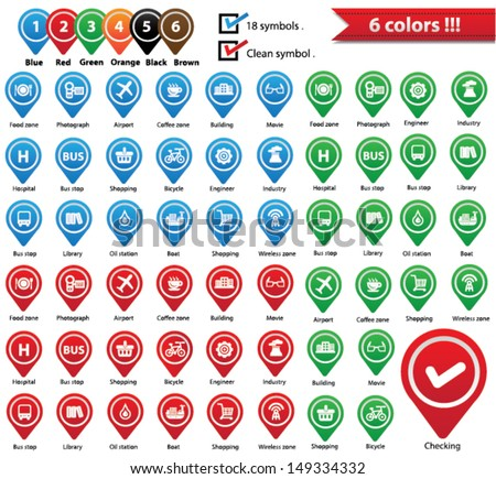 Vector Map Pins Pointer,Symbols for use map,vector - stock vector