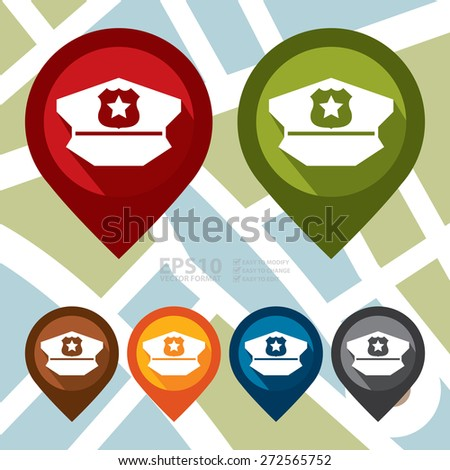 Vector : Map Pointer Icon With Police Station Sign - stock vector