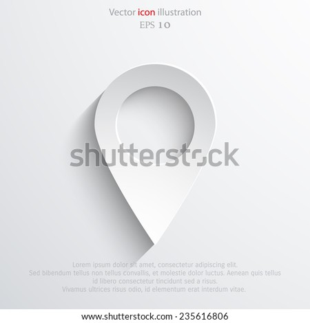 Vector map pointer web flat icon. Eps 10 vector illustration. - stock vector