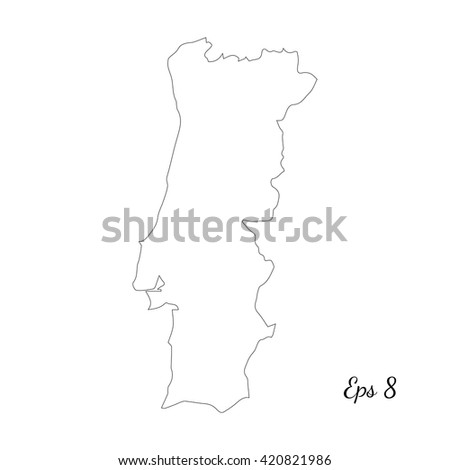 Map Portugal Stock Vector Shutterstock - Portugal map black and white