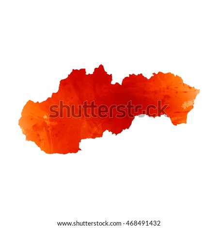 Vector map Slovakia. Isolated vector Illustration. Watercolor orange effect. EPS 10 Illustration.