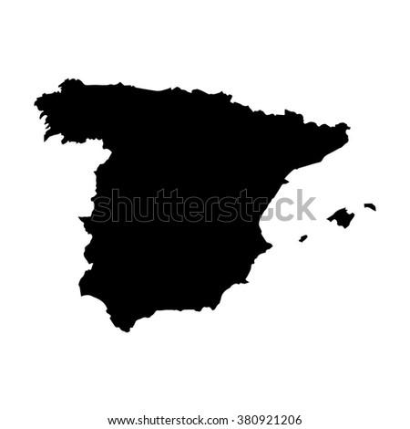 Vector map Spain. Isolated vector Illustration. Black on White background. EPS Illustration. - stock vector