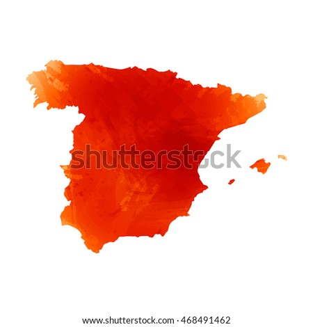 Vector map Spain. Isolated vector Illustration. Watercolor orange effect. EPS 10 Illustration.