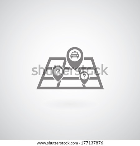 Vector map symbol on gray background  - stock vector