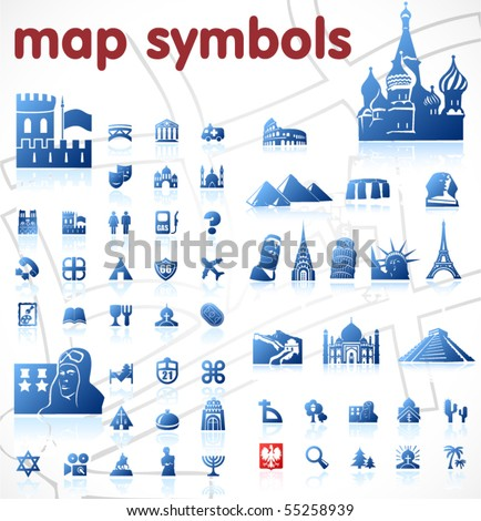 vector map symbols - stock vector