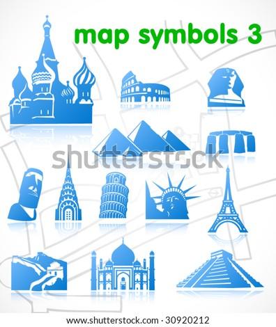 vector map symbols. Set 3. - stock vector