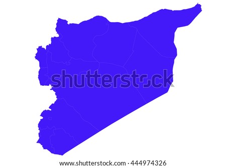 Vector map-syria country on white background. blue color.