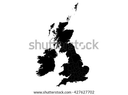 Vector map-uk  country on white background. - stock vector