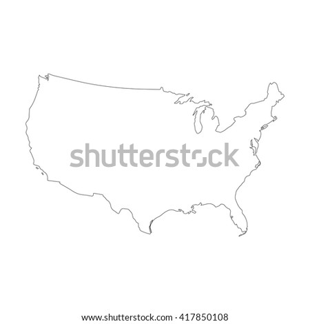 vector map united states outline map isolated vector ilration black on white background