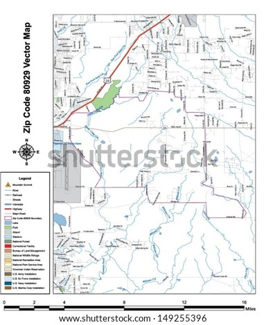 Vector map with summits,rivers, railroads, streets, lakes, parks, airports, stadiums, correctional facilities, military installations and federal lands by zip code 80929 with labels and clean layers.