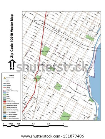 Vector map with summits,rivers, railroads, streets, lakes, parks, airports, stadiums, correctional facilities, military installations and federal lands by zip code 10010 with labels and clean layers. - stock vector