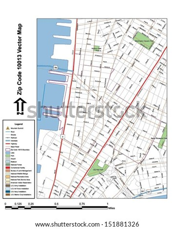 Vector map with summits,rivers, railroads, streets, lakes, parks, airports, stadiums, correctional facilities, military installations and federal lands by zip code 10013 with labels and clean layers. - stock vector