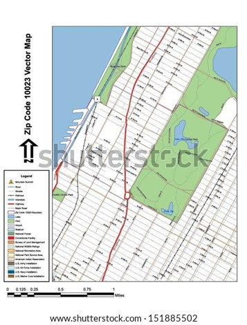 Vector map with summits,rivers, railroads, streets, lakes, parks, airports, stadiums, correctional facilities, military installations and federal lands by zip code 10023 with labels and clean layers. - stock vector