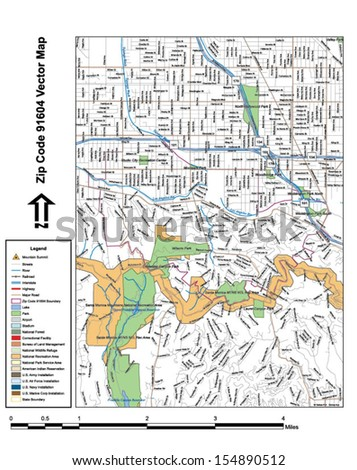 Vector map with summits, rivers, railroads, streets, lakes, parks, airports, stadiums, correctional facilities, military installations and federal lands by zip code 91604 with labels and clean layers.
