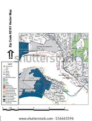 Vector map with summits, rivers, railroads, streets, lakes, parks, airports, stadiums, correctional facilities, military installations and federal lands by zip code 92101 with labels and clean layers. - stock vector