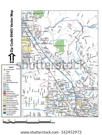 Vector map with summits, rivers, railroads, streets, lakes, parks, airports, stadiums, correctional facilities, military installations and federal lands by zip code 95403 with labels and clean layers. - stock vector