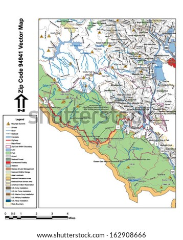 Vector Map With Summits Rivers Railroads Streets Lakes Parks Airports