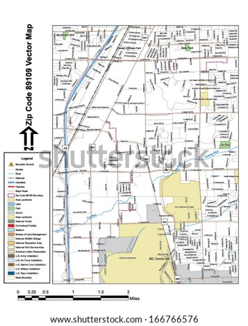 Vector map with summits, rivers, railroads, streets, lakes, parks, airports, stadiums, correctional facilities, military installations and federal lands by zip code 89109 with labels and clean layers. - stock vector