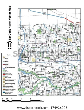 Vector map with summits, rivers, railroads, streets, lakes, parks, airports, stadiums, correctional facilities, military installations and federal lands by zip code 48154 with labels and clean layers. - stock vector