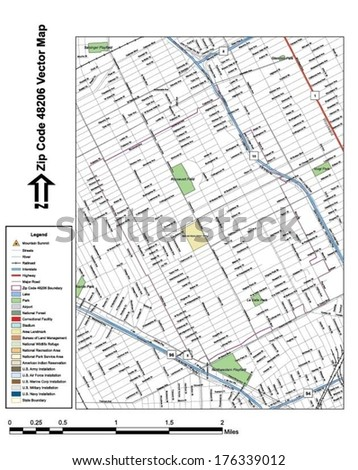 Vector map with summits, rivers, railroads, streets, lakes, parks, airports, stadiums, correctional facilities, military installations and federal lands by zip code 48206 with labels and clean layers. - stock vector