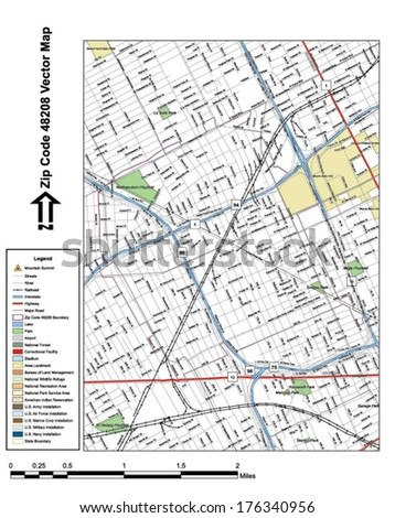 Vector map with summits, rivers, railroads, streets, lakes, parks, airports, stadiums, correctional facilities, military installations and federal lands by zip code 48208 with labels and clean layers. - stock vector