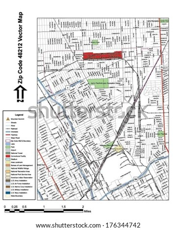 Vector map with summits, rivers, railroads, streets, lakes, parks, airports, stadiums, correctional facilities, military installations and federal lands by zip code 48212 with labels and clean layers. - stock vector