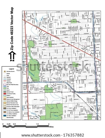 Vector map with summits, rivers, railroads, streets, lakes, parks, airports, stadiums, correctional facilities, military installations and federal lands by zip code 48223 with labels and clean layers. - stock vector