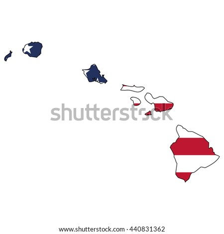 Vector map with US flag inside of Hawaii - stock vector