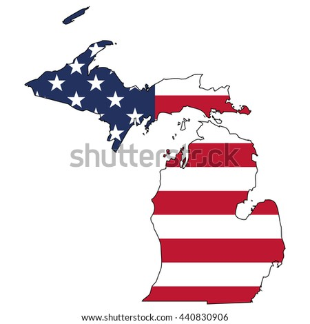 Vector map with US flag inside of Michigan - stock vector