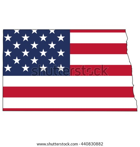 Vector map with US flag inside of North Dakota - stock vector
