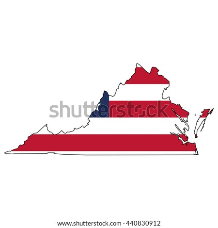 Vector map with US flag inside of Virginia - stock vector