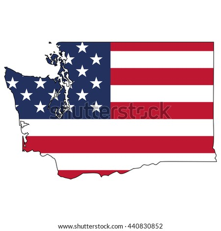 Vector map with US flag inside of Washington