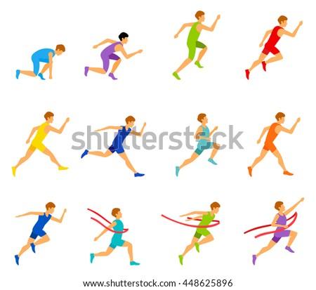 Vector marathon road race runners in trendy flat design. - stock vector
