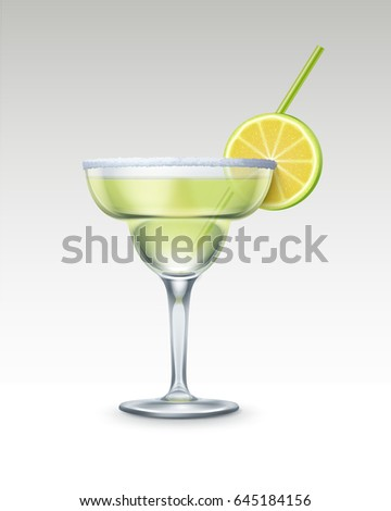Vector Margarita cocktail with tequila, triple sec, fresh lime, salt rim and green straw tube isolated on background