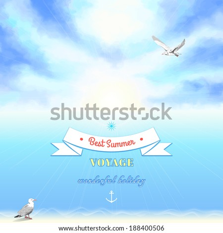 Vector marine background. Sky painted oil pastel. Gulls, pencil hand drawing. Decorative elements, tape, anchor, sun. Place for your text. - stock vector
