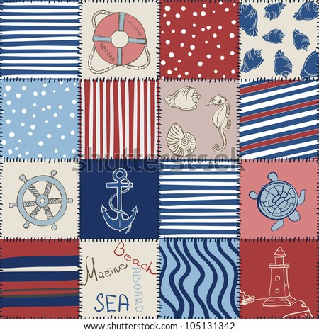 Vector Marine Seamless Pattern. Sea Patchwork