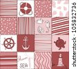 Vector Marine Seamless Pattern. Sea Red  Patchwork - stock vector