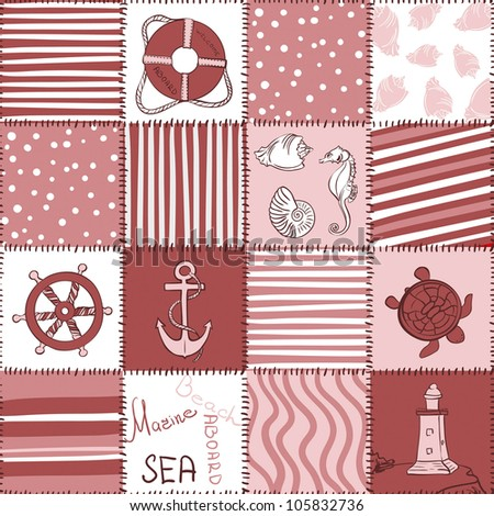 Vector Marine Seamless Pattern. Sea Red  Patchwork