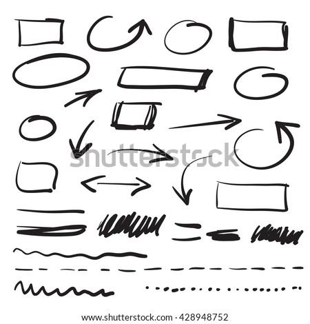 vector marker doodle design elements - stock vector