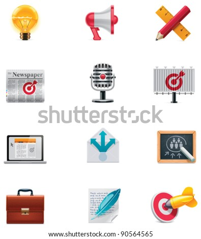 Vector marketing and advertising icon set - stock vector