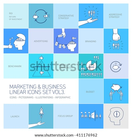 vector marketing and business icons set volme three | flat design linear illustration and infographic isolated on colorful blue background